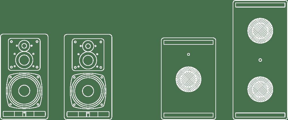 PSI Audio A23-M Satellite + Subs